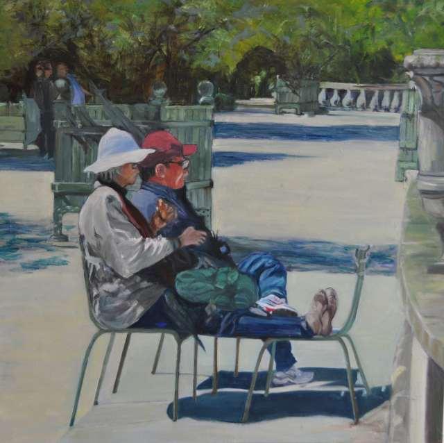 Turistas en Paris. 80x80. Óleo sobre lienzo